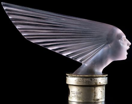 Spirit of the Wind, the Victoire (Victory) car mascot or hood ornament by Rene Lalique, April 18, 1928