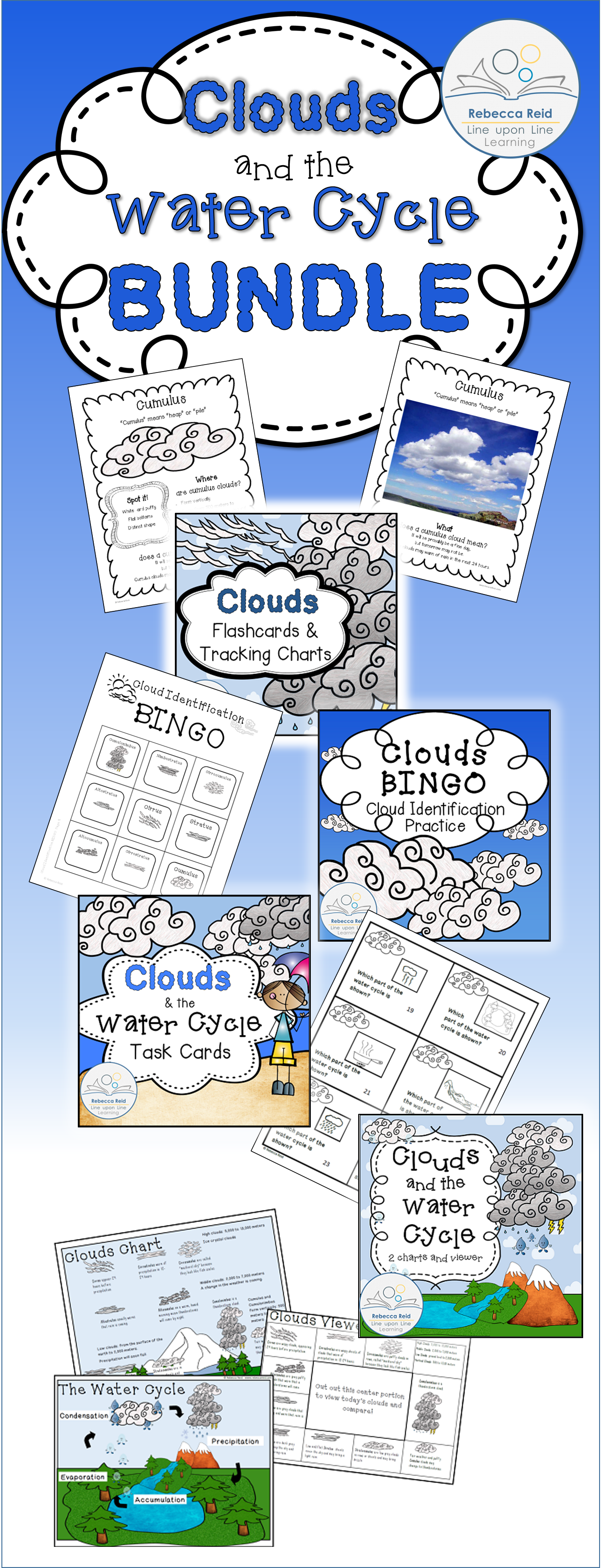 Clouds And The Water Cycle Bundle With Charts Flash Cards Task Cards Amp Bingo