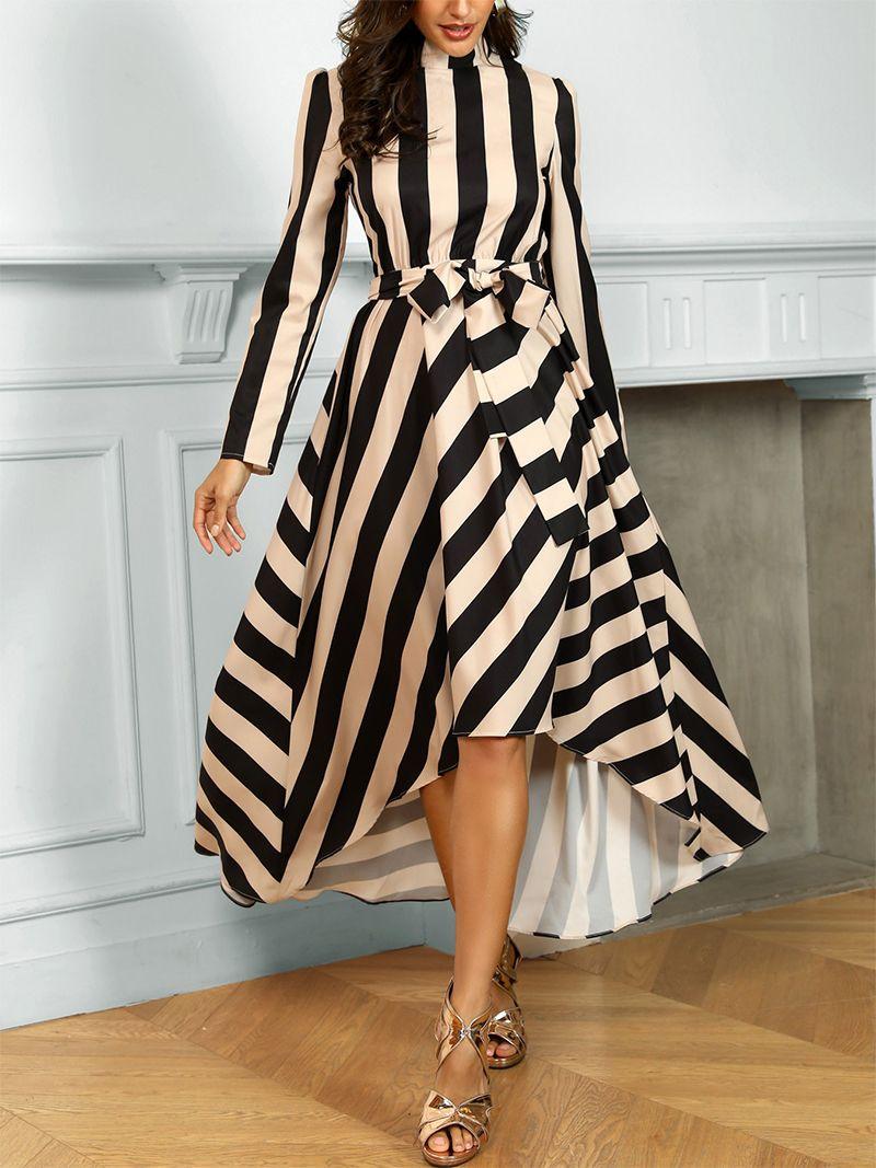 Elegant Striped Long Sleeve Stand Collar Maxi Dress Maxi Dress Formal Maxi Dress Summer Maxi Dress Casual Max Elegant Maxi Dress Maxi Dresses Casual Maxi Dress [ 1067 x 800 Pixel ]