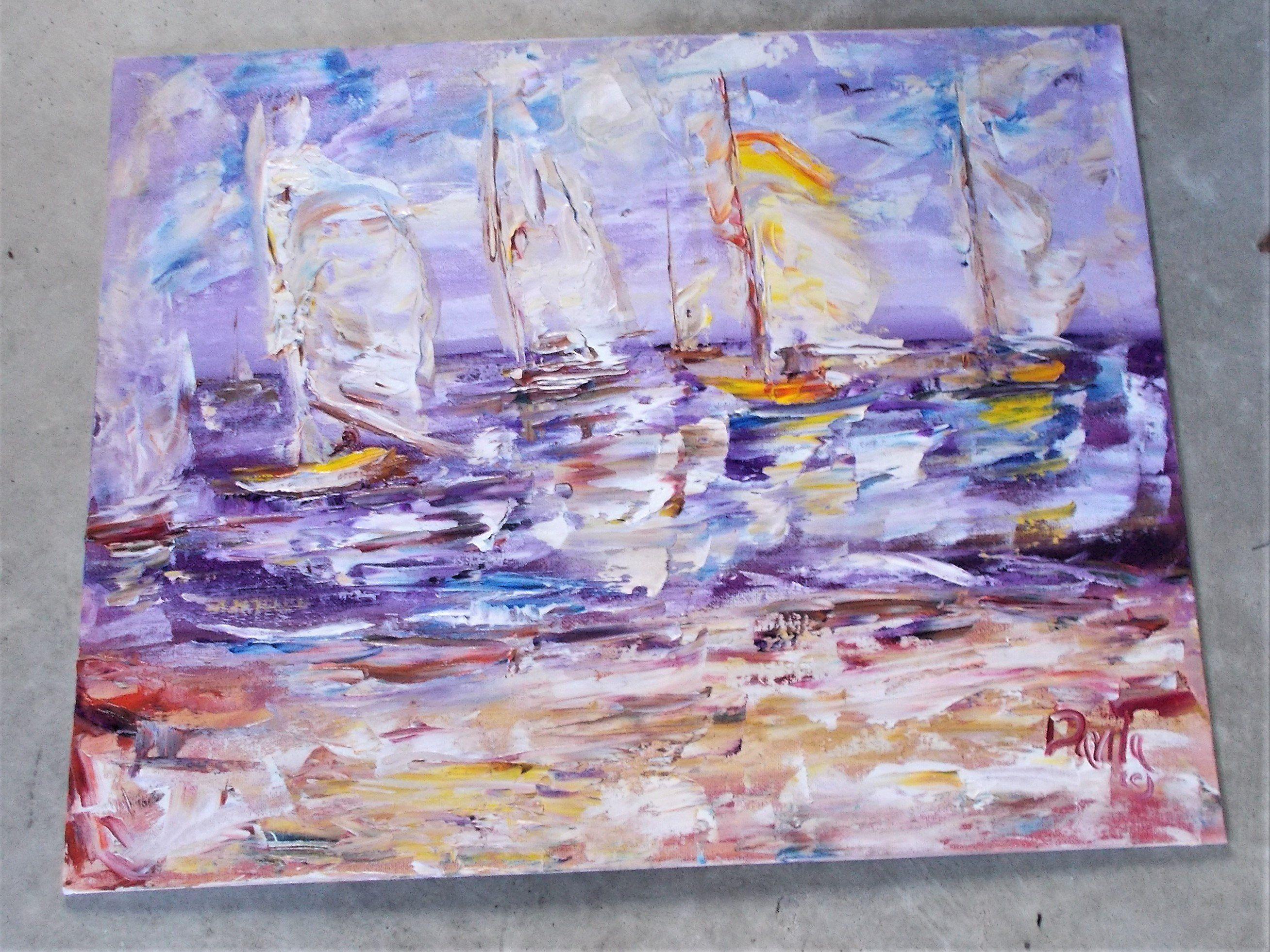 Original New England Seaside impressionistic impasto