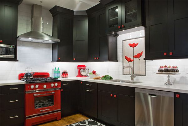 Color Scheme Idea 20 Red Black And White Kitchen Designs Home Design Lover Black And Red Kitchen Black White Kitchen Black Kitchens