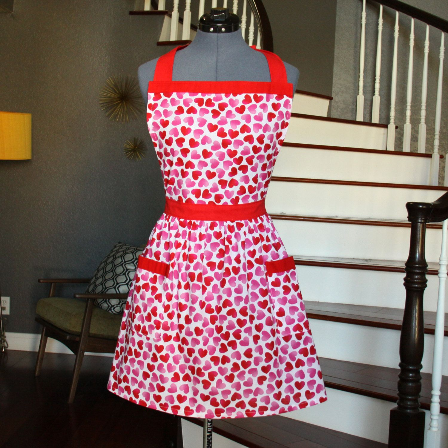 White apron etsy - Heart Aprons For Women Valentines Aprons With Pockets Womens Aprons Red White Apron Handmade Aprons Kitchen Apron Janet Apron