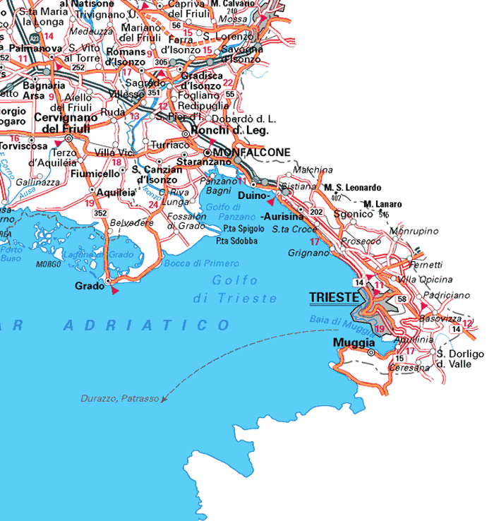 Map of NE Italy showing where Trieste is located I love