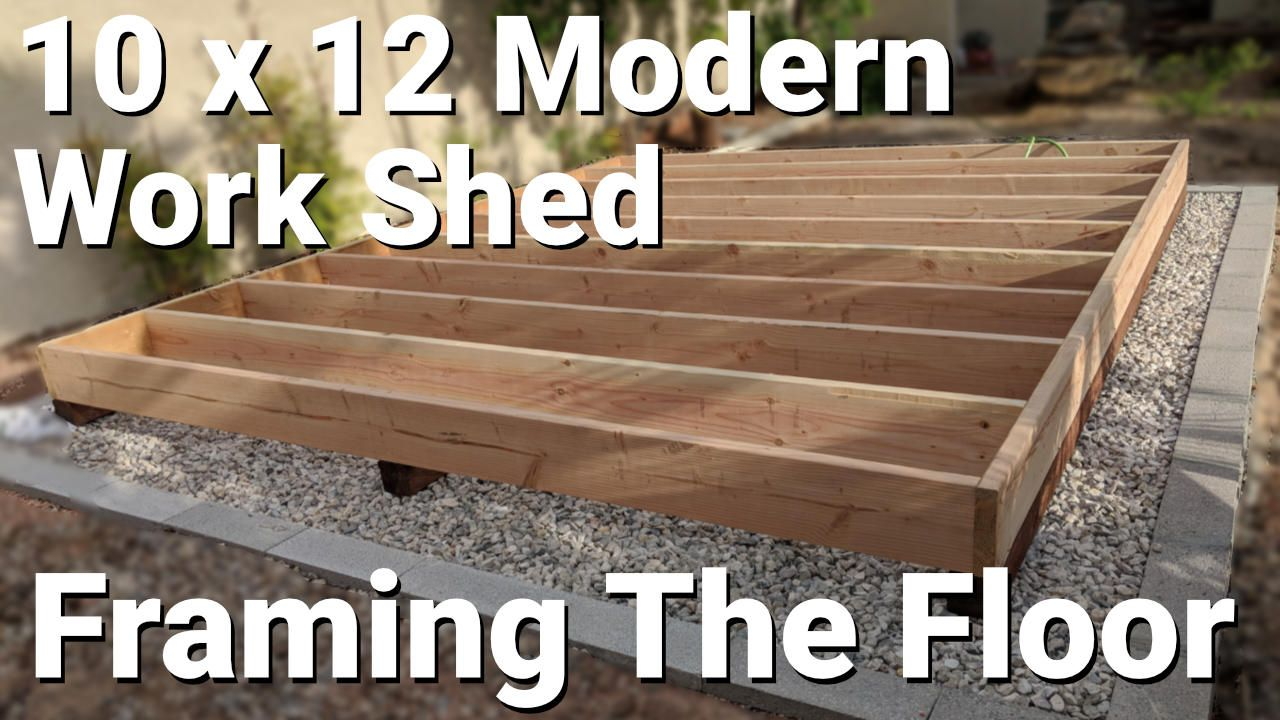 Framing Up The Floor For A Modern Work Shed You Ll See How To Install The Joists To The Rim Joists And Attach It All To The Skid Shed Modern Shed Shed