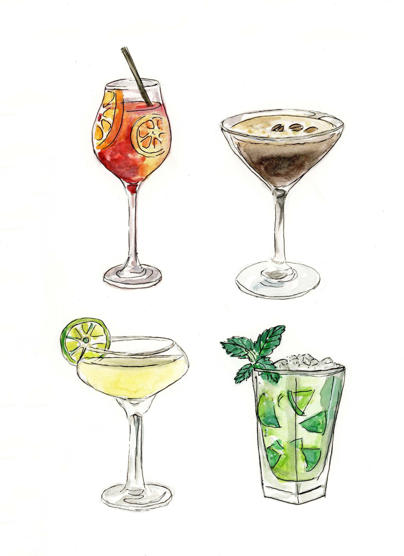Printable Cocktails Wall Art Alcohol Print Digital Download Etsy Kitchen Art Prints Kitchen Art Cocktail Art