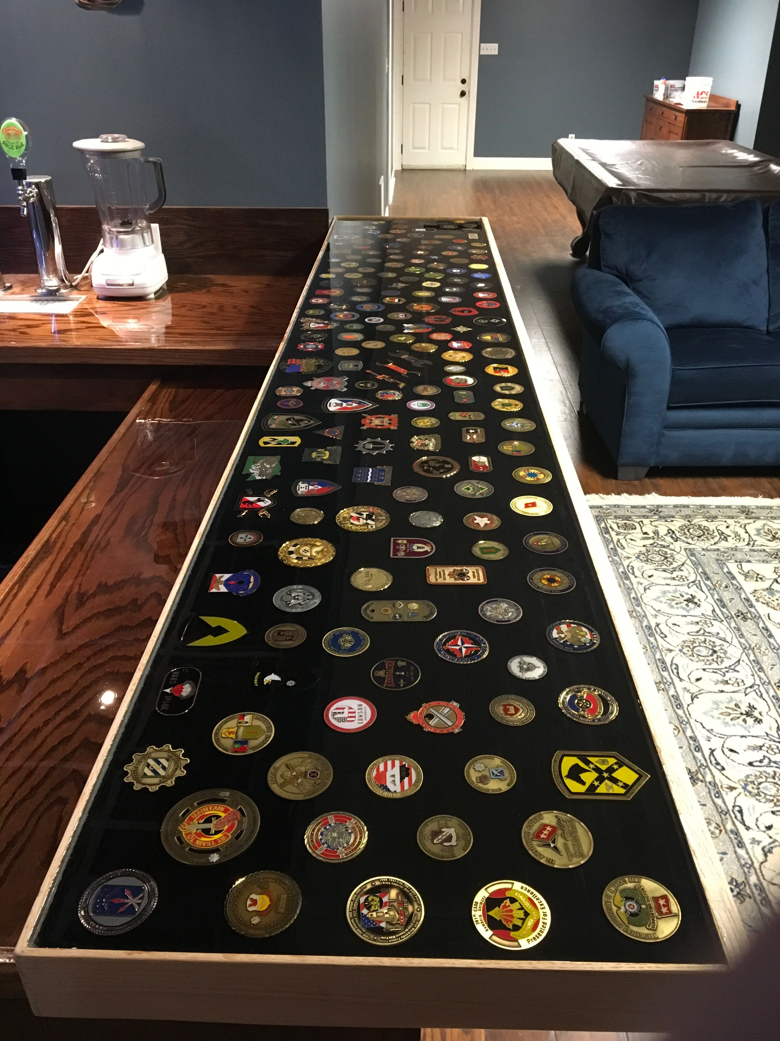 Military challenge coins in epoxy to make bar top | Military in 2019