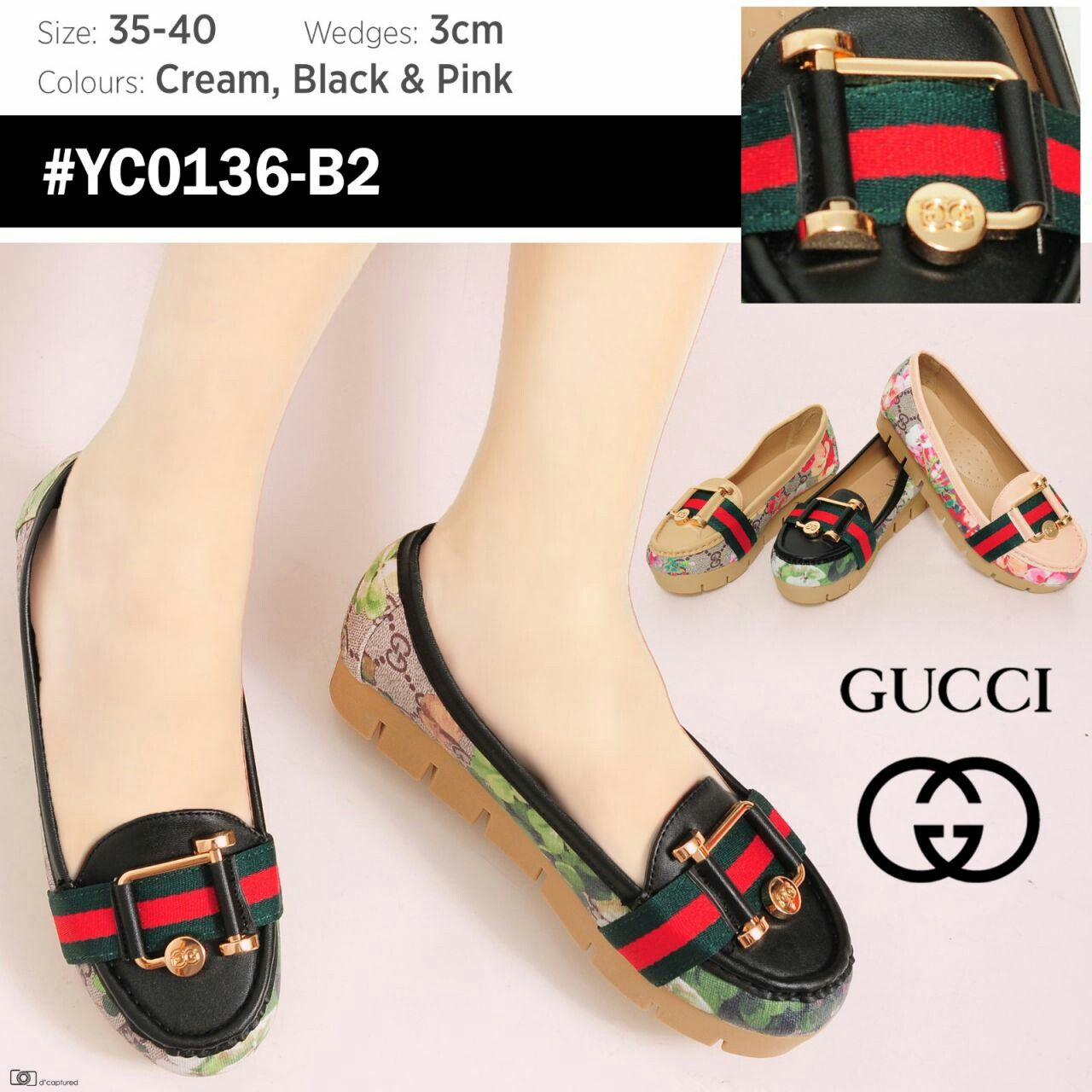 Gucci Flower YC0136-B2 Sol 3cm 35 - 40 (ukuran besar 1 nomor) 275rb