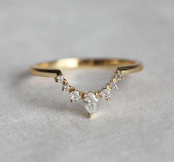 Diamond Wedding Band Crown Ring Curved Nesting