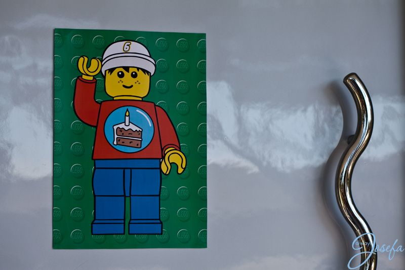 Lego birthday party - Lego man sign on front door