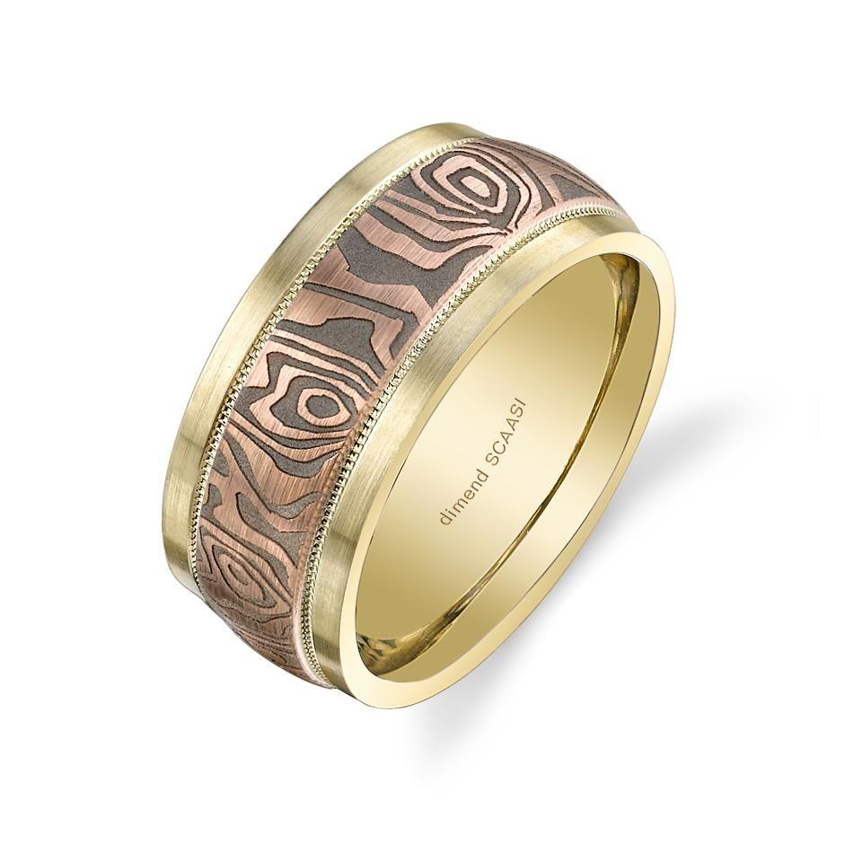 Two tone yellow and rose gold mokume gane men\'s wedding ring | Men\'s ...