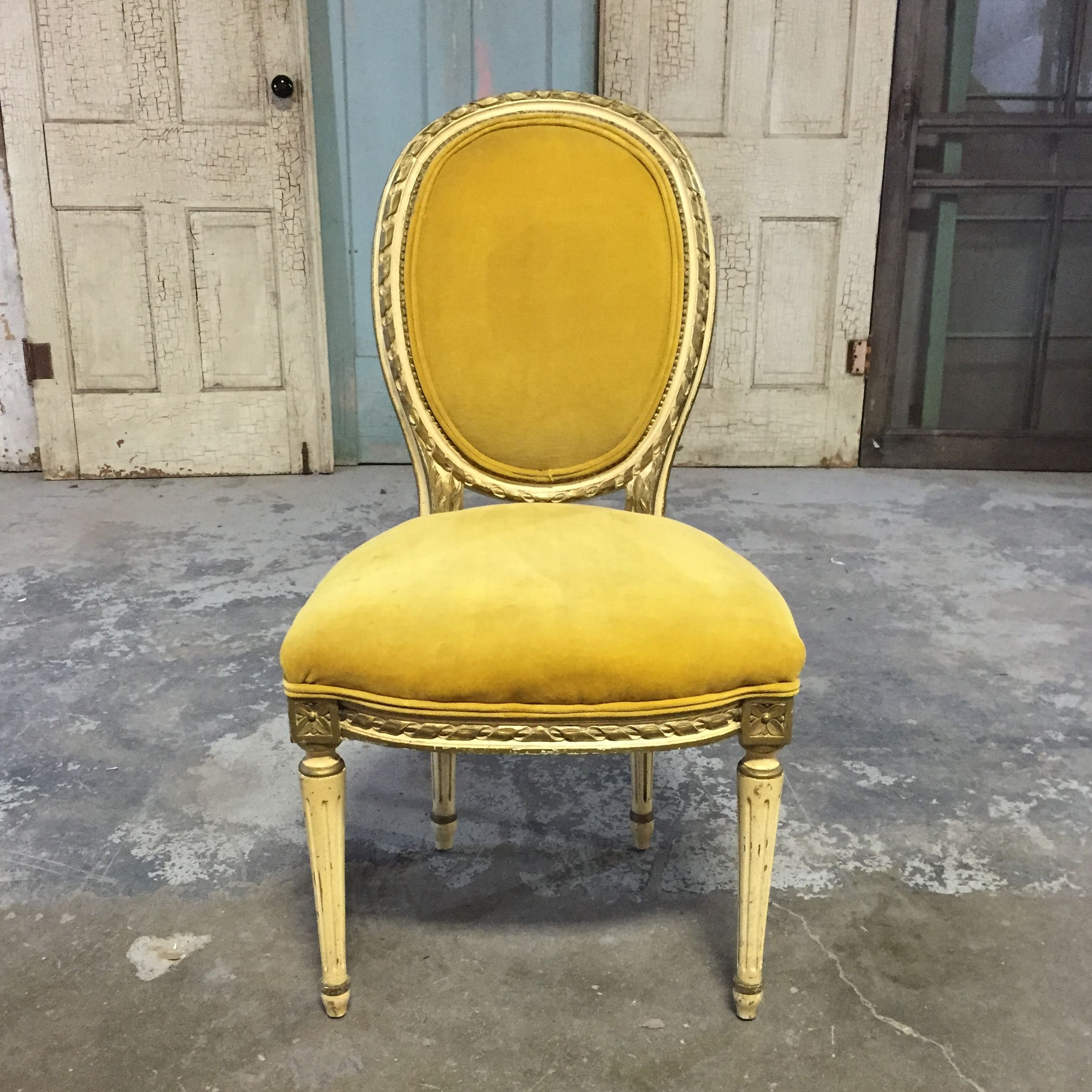 Oval Back Louis Xvi Gold Mustard Yellow Chair Chicago IL