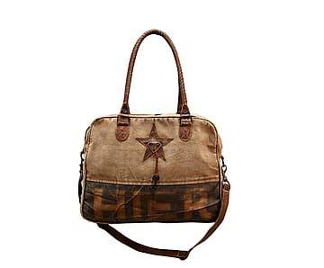 79961d41a50 Bolso de lona y curpiel Tim - marrón y beige