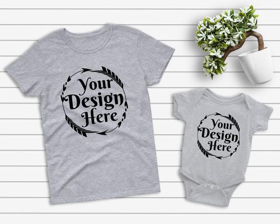 Mockup Tshirt Heather Grey Parent Baby Mockup Mom Kid Flat