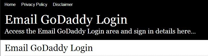 Secure Login  Access the Email GoDaddy login here Secure