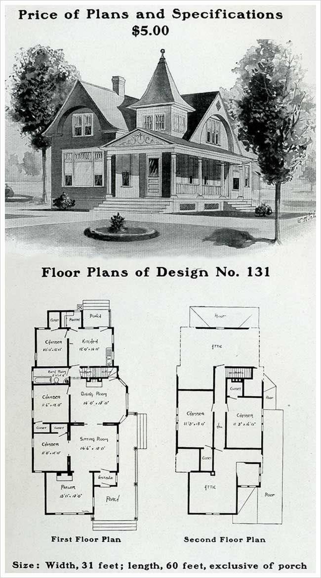 Radford 1903 Queen Anne Free Classic Unusual Square Tower Victorian House Plans House Plans Victorian Homes