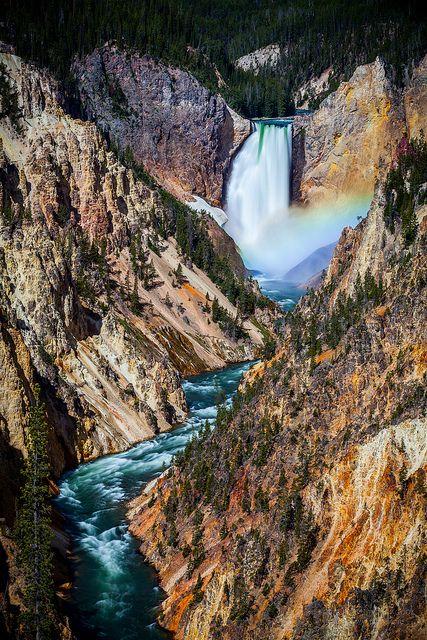 Yellowstone Fall Beautiful Waterfalls Waterfall Photography Waterfall