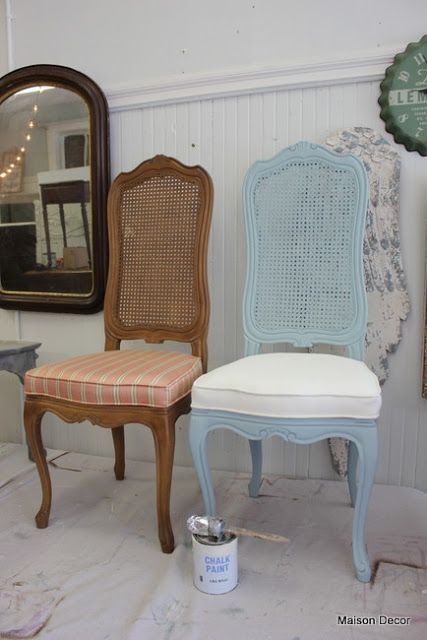 Painting Chairs~frame and fabric! and a lot more    is part of Painted chairs - gustavian in style! I did a pair of these that were in traditional old gold upholstery with a cream and gold frame  They are now off white and slightly antiqued  Find a link below to more on how to paint fabric on chairs! I got a set of these chairs at auction last year and painted them inspired by a Tiffany blue box  I loved them so much I brought them home and mixed them in with this set of french chairs  Before and After~these chairs were upholstered in a faux vinyl  We have been sitting on them for about a year now and they show no signs of wear!! And if they did, I would simply add another coat of paint! We are offering an Ugly Dining Room Chair workshop at the new store in August if you want to sign up  Look for it online as I am taking a limited amount of students  You will get help in painting your chair in a rustic french, gustavian, shabby chic or traditional style  Then you can go home and paint the rest of your chairs to match!! And you will have a brand new look in your home  Problem solved! Another interesting thing we are working on in the workshop right now is this gleaming gold cylinder table  It came out of an office lobby after they decided to update their space  Its metal and has a high sheen  See my pink workout pants   Thats a very high shine! I took some sandpaper to it and gave it a ten minute sanding~ Work both ways, cross graining as you sand  You can see the sanded marks   I used 120 grit  Now what makes this an interesting project is that this table came out of Boston Sand and Gravel company  They manufacture cement and concrete and that kind of stuff  One of my first shoppers who came into Maison Decor works there and she suggested that the company hire me to paint them to look like concrete! Colin started painting the cylinder with French Linen  Goes on like a dream~ We did two coats of French Linen  Then brushed on some Fine Stone (we sell this online) Then