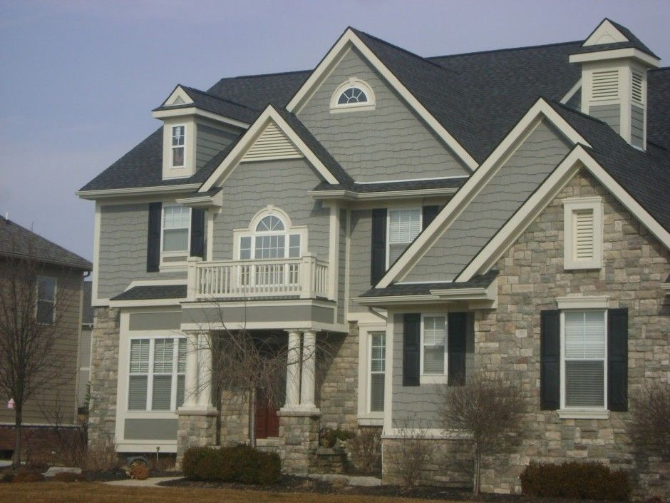 Best Exterior Paint Schemes Design For Home Style With Large Space Gray Wall Stone Rooftop Ideas And Several Plant Modern Concept
