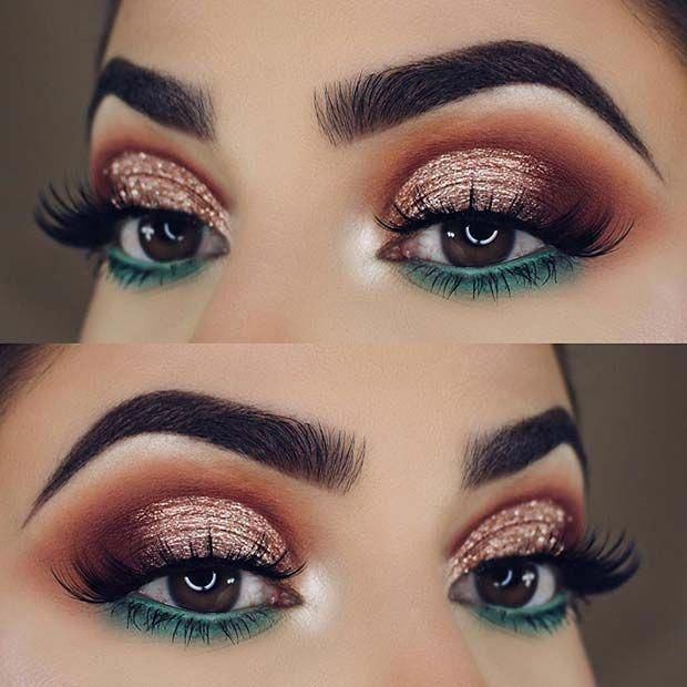 Festive Gold and Green Eye Makeup Look for Christmas #makeupideas – #dramaticeye…