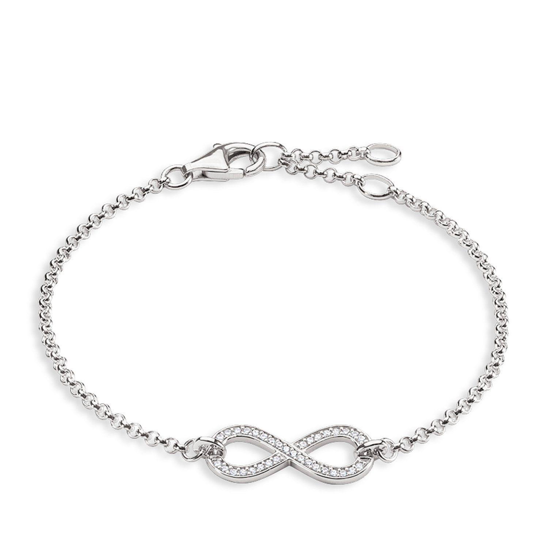 Meixao Ladies Jewelry 925 Sterling Silver Zirconia Interlocking Heart-shaped Bracelet for Women qPA01a0
