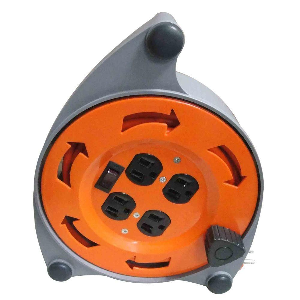 Hdx 20 Ft 16 3 Retractable Extension Cord Reel With 4 Outlets Cr