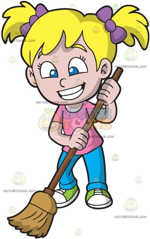 a happy girl sweeping the floor little girl cartoon cartoon character design sweep the floor a happy girl sweeping the floor