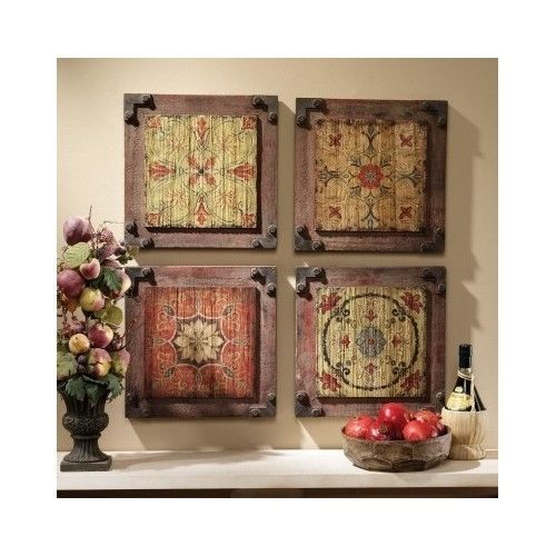 Antique Wall Decor Floral Wall Art Wood Panels Rustic Kitchen Vintage Antique Hanging