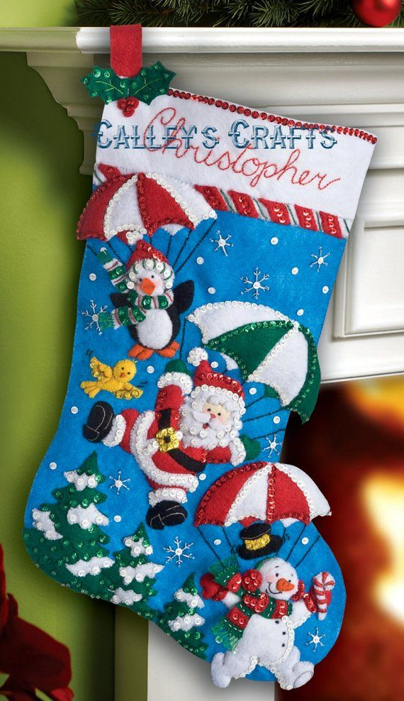 Dropping In 18 Felt Christmas Stocking Kit Santa Snowman Elf Oop