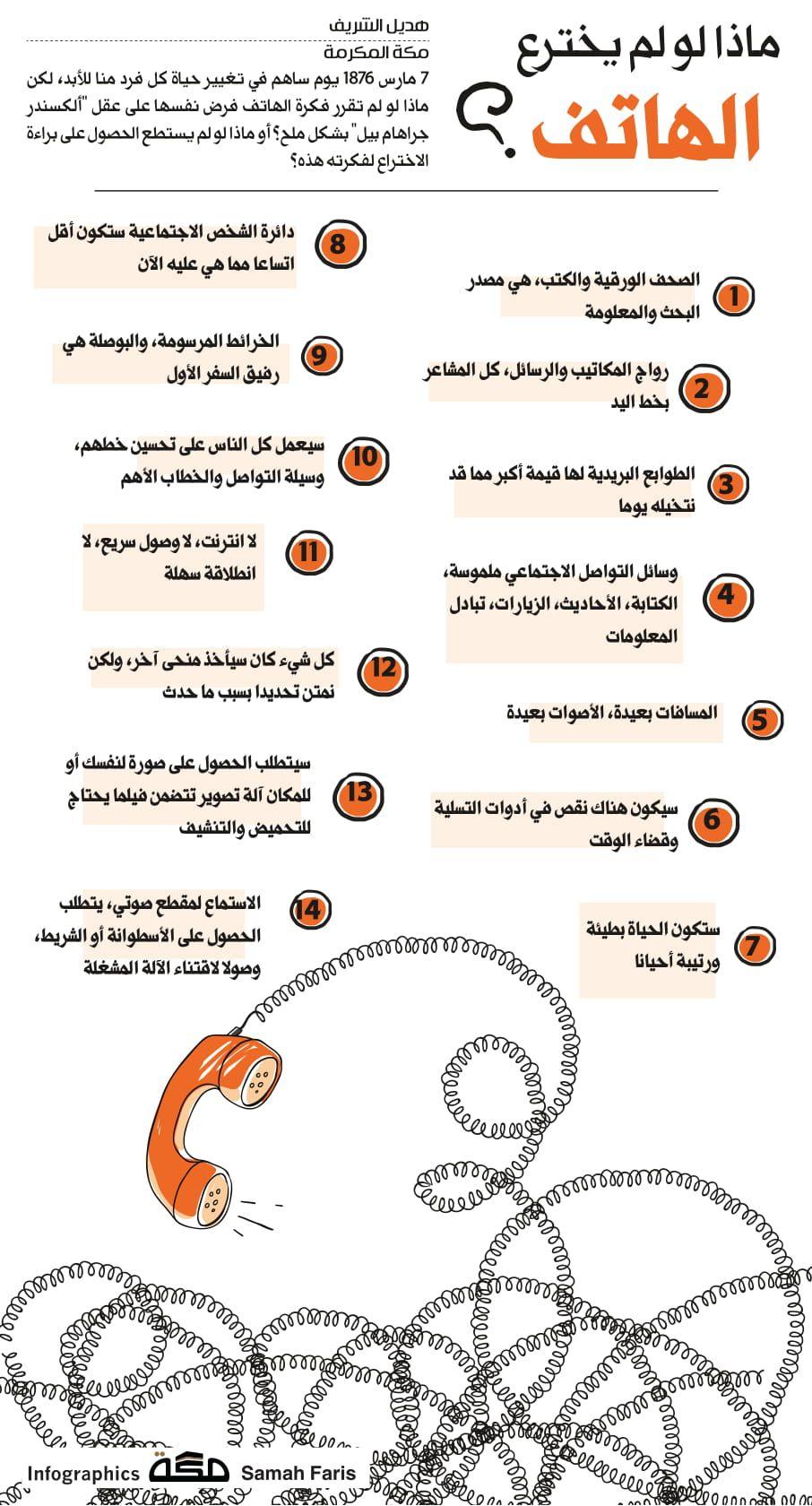 ماذا لو لم يخترع الهاتف صحيفة مكة انفوجرافيك معلومات Infographic Asos