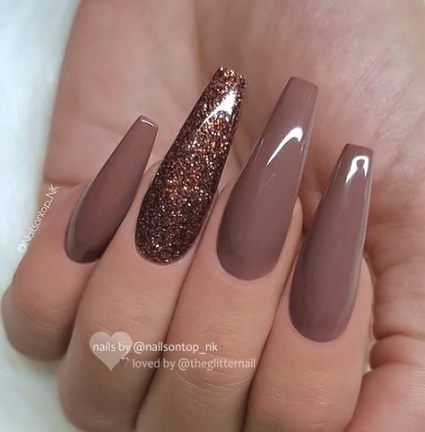 64 trendy nails ideas coffin brown  fall acrylic nails
