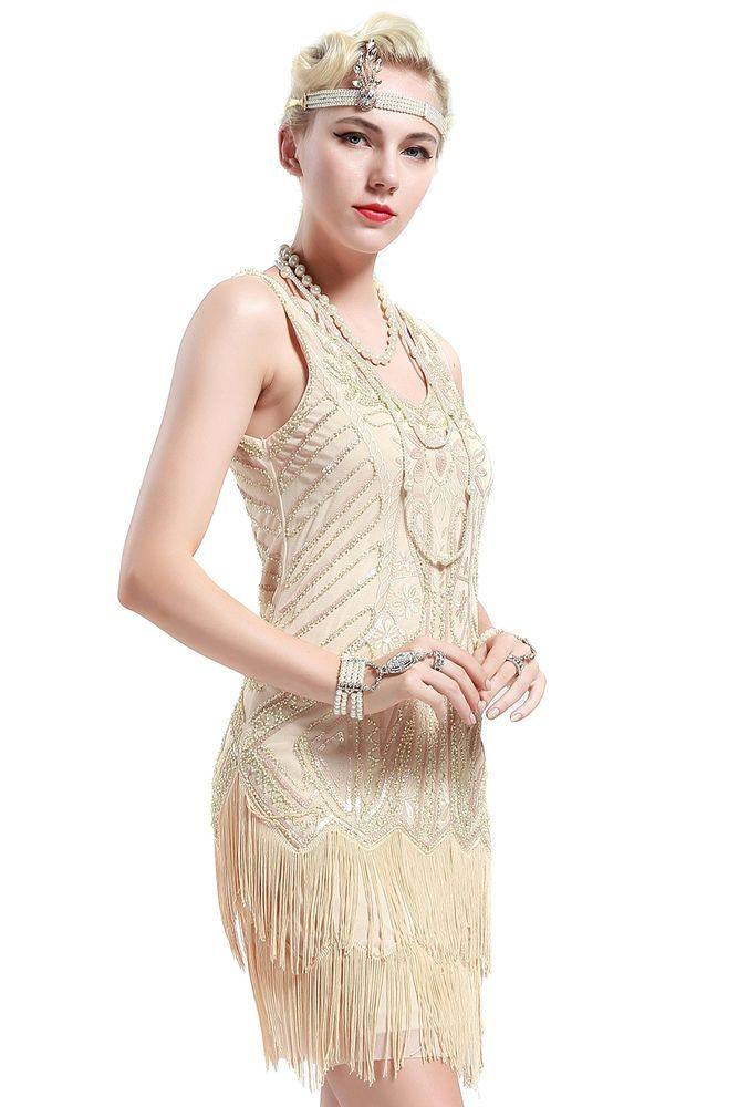 Roaring 1920s Gatsby Adult Flapper Girl Costume Charleston Fringe ...