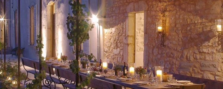 Moonlit dining at Bastide de Lavande.