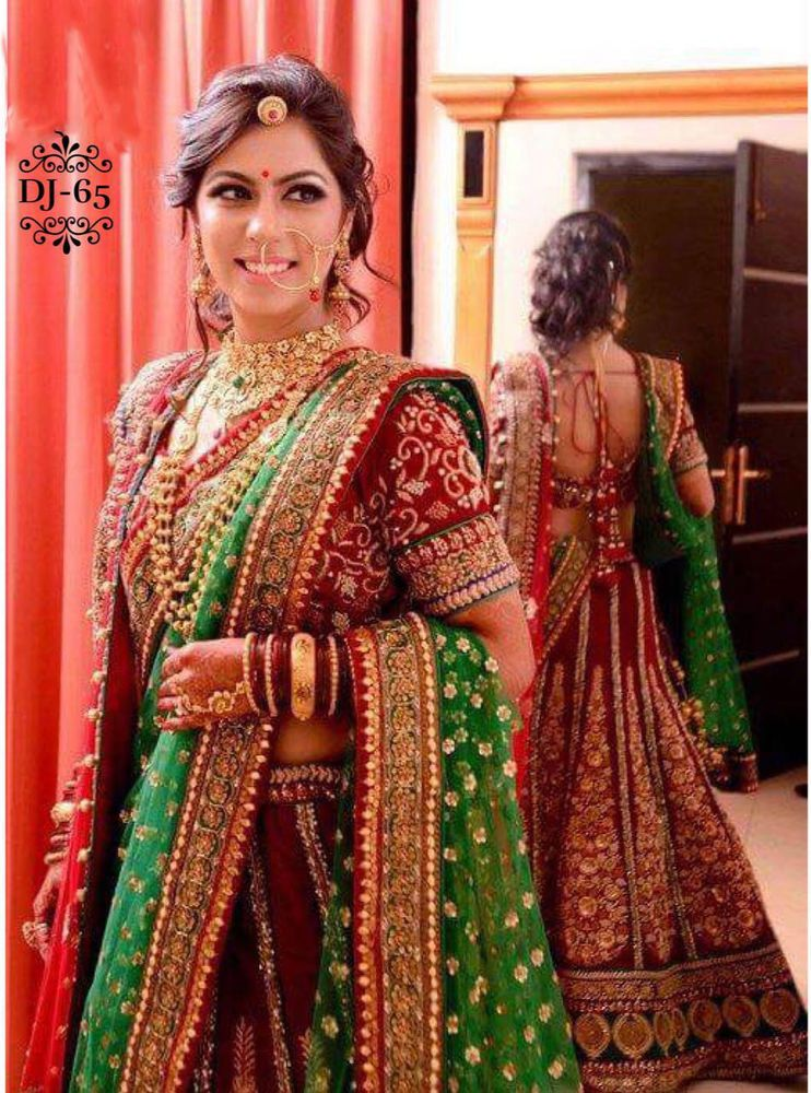 2d4c510719 Beautiful Red Green Designer Bollywood Indian Bridal Wear Wedding Lehenga  Choli