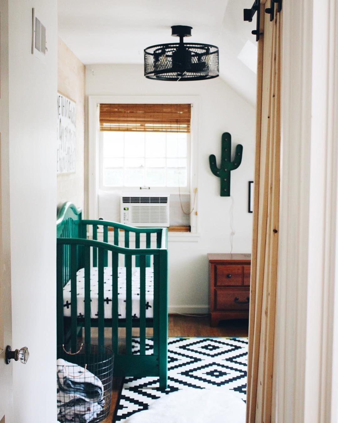 Travel Themed Bedroom For Seasoned Explorers: Green Crib Cactus Theme Baby Nursery