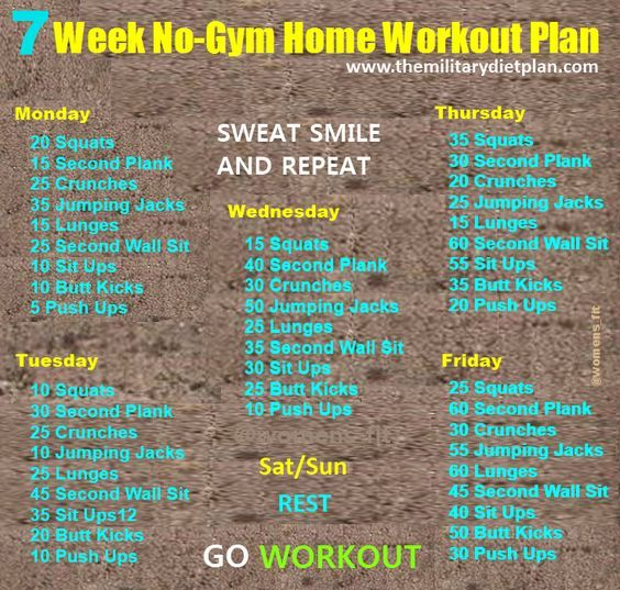 7 week no home workout plans workout routines