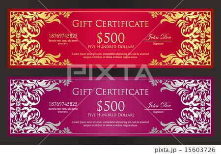 Red and purple voucher with vintage ornament
