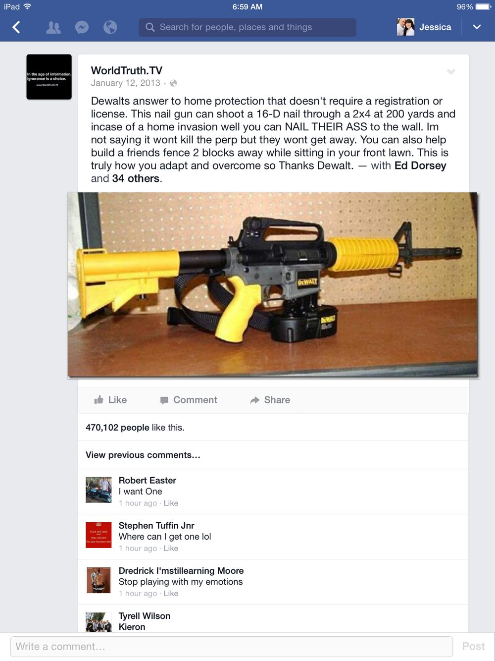 Can\'t own or afford an ar15? DeWalt\'s solution: a self defense nail ...