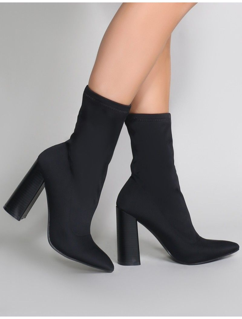 48a7f18a18ad Libby Flared Heel Sock Fit Ankle Boots in Black Stretch