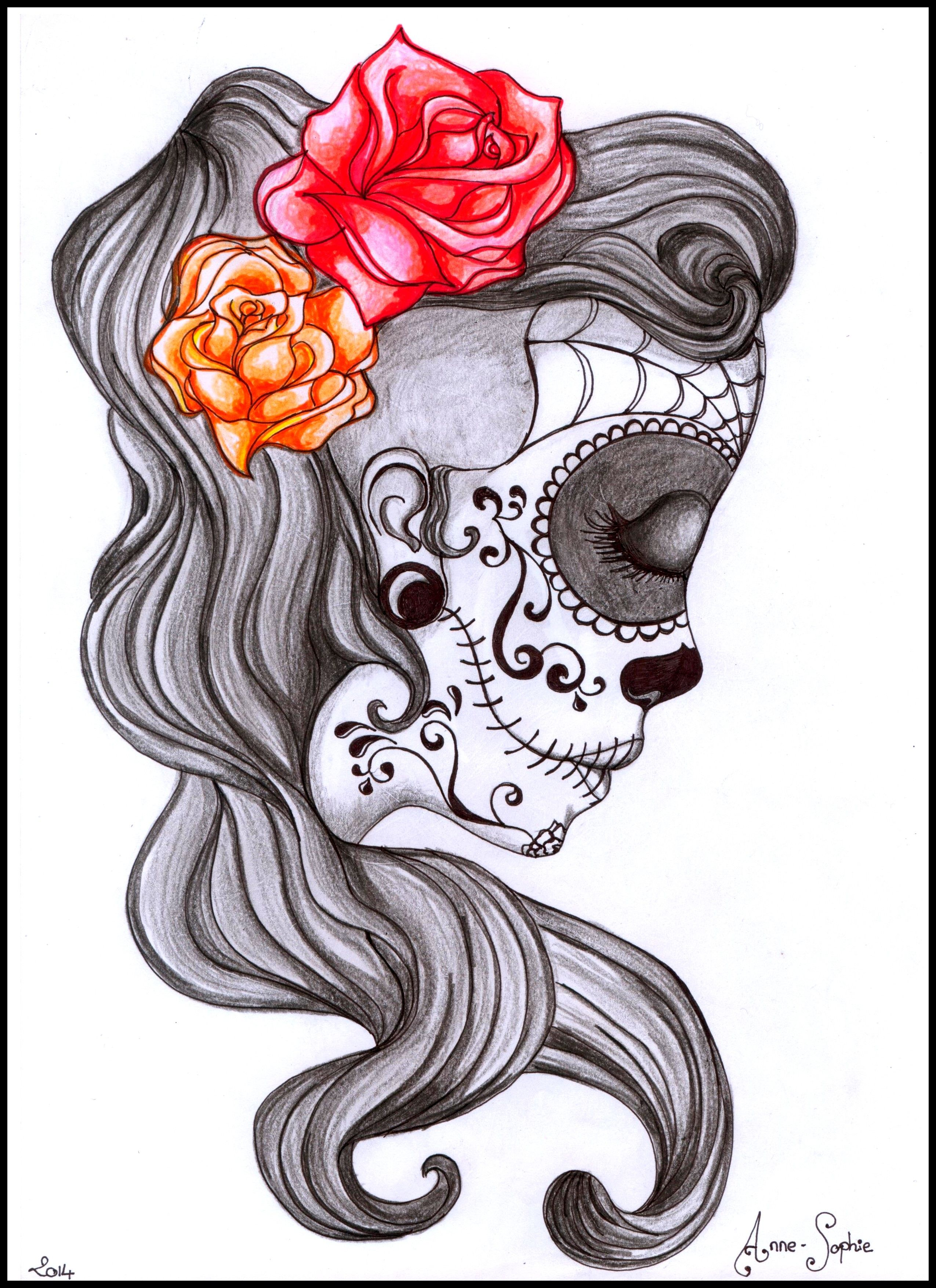Muerte and Roses : dessin, crayon, drawing, tattoo, tatouage