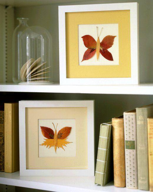 Natural cuadro decorado con mariposas hechas con hojas de árboles