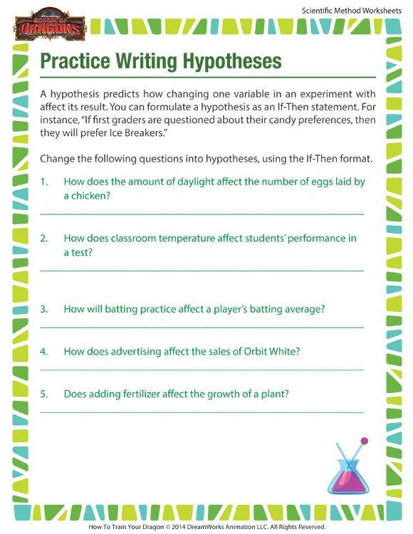 Practice Writing Hypotheses Worksheet Scientific Method