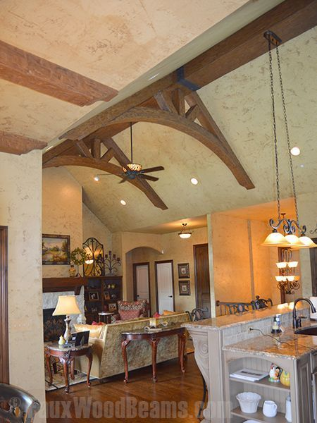 two arched king trusses made from timber faux beams
