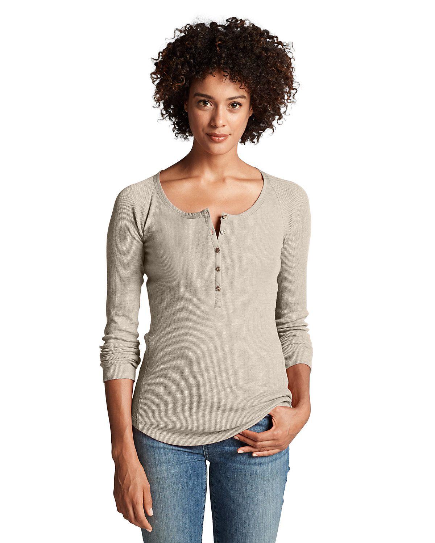 Women's Stine's Waffle Henley Shirt Solid Eddie Bauer