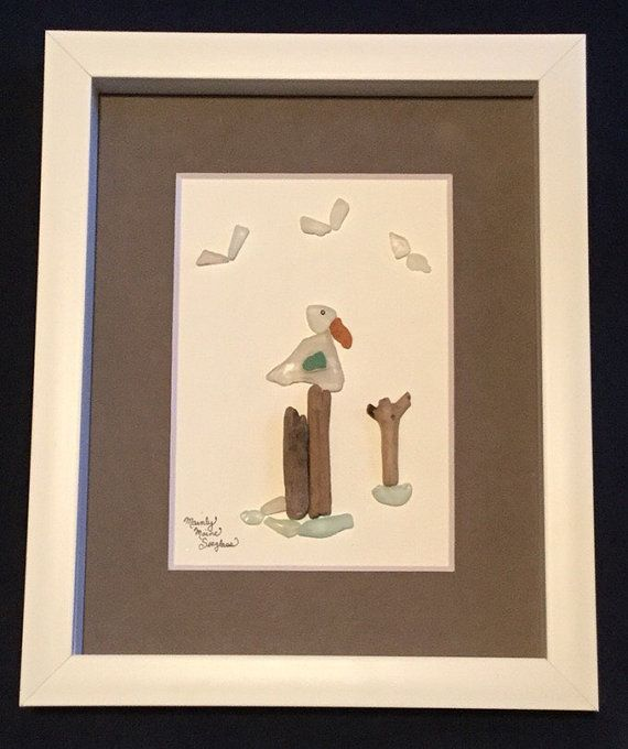 seagull maine framed sea glass art nautical home dcor coastal dcor