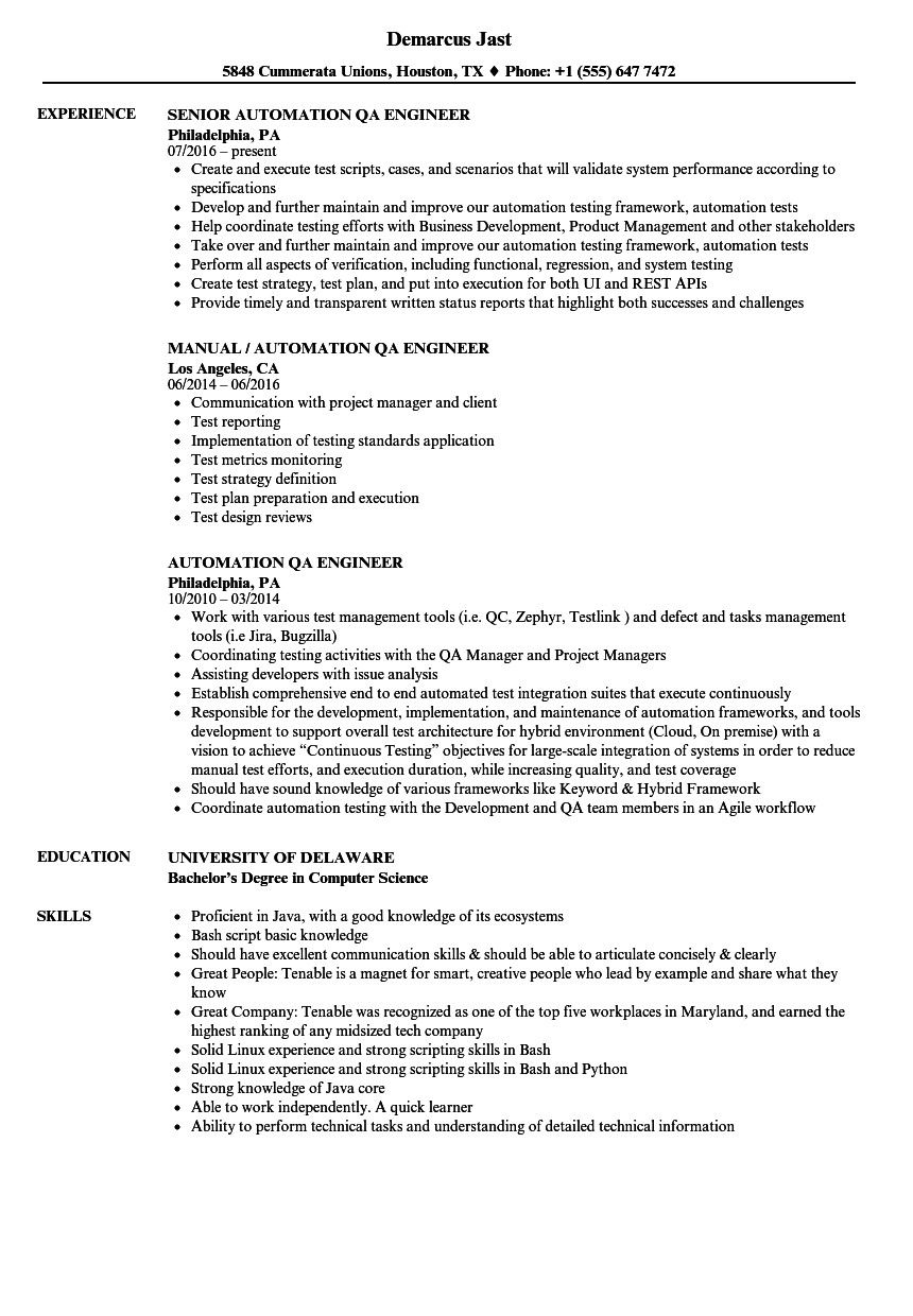 Qa Tester Resume No Experience Proper Automation Qa Engineer