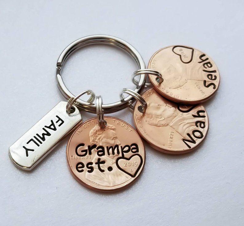 Custom personalized grandpa penny keychain fathers day