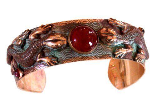 Verdigris Patina Solid Brass Double Lizard Cuff   Carnelian Elaine Coyne.  $70.00. One Size