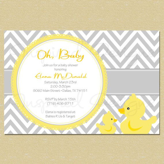 Rubber Duck Baby Shower Invitation Matching Coordinates