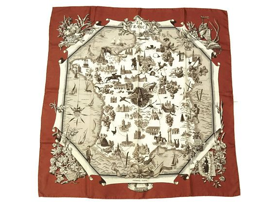 Authentic 1950s Vintage Hermes Silk Scarf