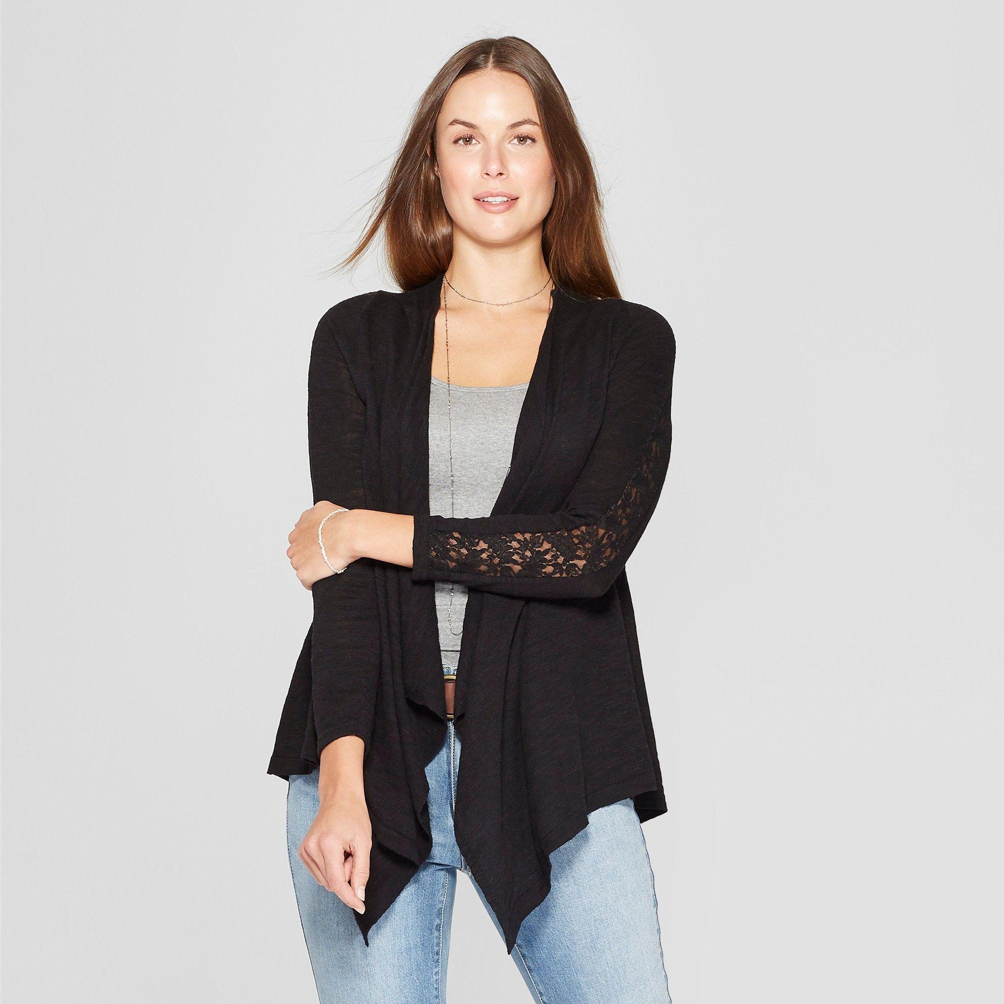 Women s Lace Detail Open Cardigan - Knox Rose Black M  99bbe85a1